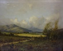 """J.Nimmo """"A Summers Landscape (The Cheviots)"""" Oil on Canvas, signed to lower right, 34cm x 44.5cm,"""