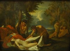 """After Nicholas Poussin """"Venus Suprised by a Satyr"""" Oil on Copper Panel, 24cm x 34cm, in a gilt gesso"""