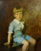 """Harrington Mann (Scottish 1864-1937) """"Portrait of a Boy"""" Oil on Canvas, signed and dated 1923 to"""