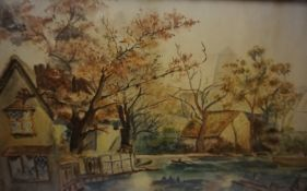 """Ruby """"River Scene with Figures"""" Watercolour, signed and dated 1914 to lower right, 25cm x 50cm, in a"""