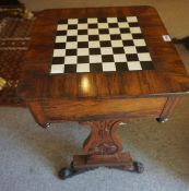 A Regency Rosewood Games Table, circa early 19th century, Having an ivorine and ebonised draughts