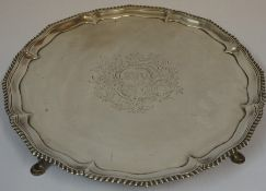 A George III Silver Salver, Hallmarks for Richard Rugg, London 1767, The circular tray engraved with