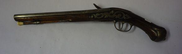 Thomas Perkes, 18th century, A Flintlock Pistol, Having an ivory mounted ramrod, silver mounts,