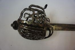 A Scottish Basket Hilt Sword, circa 18th century, The basket having fine design and finish, ray skin