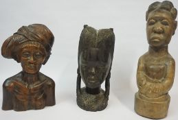 Three African Carved Hardwood Busts, One example is Sudanese, 30cm, 40cm high, (3)