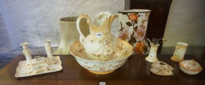 """A Devon Ware """"Gem"""" Five Piece Toilet Set, Also with similar dressing table items, (10)"""