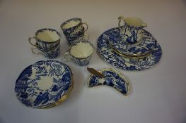 A Royal Crown Derby Part Blue and White China Tea Set, In the Mikado style, 21 pieces
