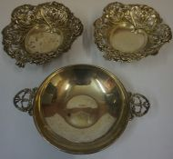 A Pair of Victorian Silver Bon-Bon Dishes, Hallmarks for Birmingham 1893, Decorated with pierced