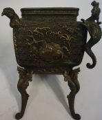 A Japanese Bronze Koro, circa late 19th century, lacking cover, 29cm high, also with a Chinese