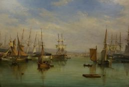 """William Clark of Greenock (Scottish 1803-1883) """"Sailing Boats At The Dock"""" Oil on Canvas, Probably"""