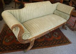 A Regency Scroll End Sofa, circa early 19th century, Decorated with parcel gilt metal roundels,