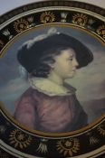 A Continental Pottery Plate, circa 19th century, In the Italian style, Depicting a portrait panel of