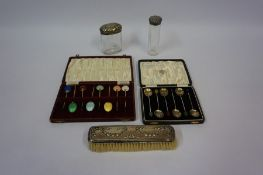 A Set of Eight Harlequin Enamel Coffee Spoons, Having bean terminals, also with a set of six