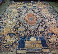 A Persian Carpet, Decorated with panels of animals, urns, birds, medallion to the centre, on a