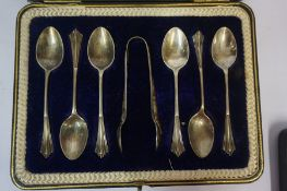 A Set of Six Edwardian Silver Coffee Spoons & Tongs, Hallmarks for Sheffield 1909, boxed, also