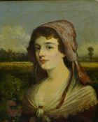 """W.J. Fortesque (19th Century) """"Portrait Of A Maid"""" Oil on Canvas, signed to lower right, 59.5cm x"""