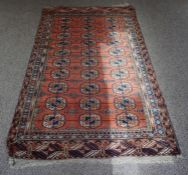A Turkmen Rug (North Afghanistan), Hand knotted, Decorated to the centre with ten rows of three