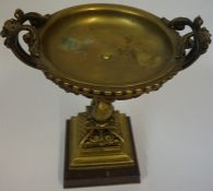A Continental Gilt Bronze Tazza, circa 19th century, The bowl decorated with pierced swags and