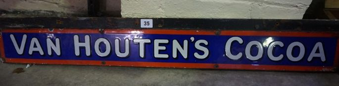 An Enamel Advertising Sign for Van Houten,s Cocoa, circa early 20th century, 10cm high, 96cm wide,