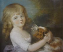 """John Russell R.A """"Mary Bushby"""" Pastel, Daughter of John, 69cm x 57cm, In a gilt frame, with"""
