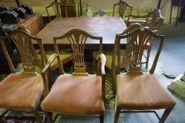 A Set of Eight Mahogany Wheatsheaf Dining Chairs, Comprising of six side chairs with two carvers,