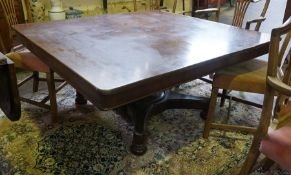 A Mahogany Breakfast Table, circa early 19th century, Having a square shaped top, with canted