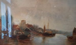 """A MacEwan """"Figures on Path"""" and """"River Scene"""" Watercolours, signed and initialled to lower left,"""