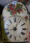 A Victorian Painted Wag at the Wa Wall Clock, Dial 11 inches wide, with two brass weights