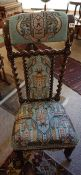 A Victorian Rosewood and Beadwork Prie Dieux Chair, Decorated with allover Persian style panels to