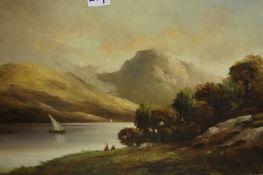 "Scottish School ""Loch Scenes with Mountains"" Oil on Canvas, circa 19th century, 36cm x 50cm wide, ("