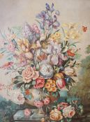 """Circle of Emily Mary Gunn (Canadian 19th century) """"Still Life of Flowers"""" Oil on Canvas, signed M."""