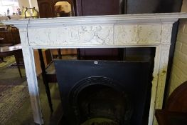 An Adams Style Painted Fire Surround, circa late 18th / early 19th century, Decorated with naval