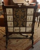 A Victorian Mahogany Firescreen, Decorated with ten tiles, signed A Cunningham, after poems by