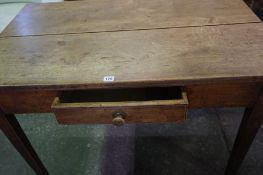 A Victorian Pine Farmhouse Table, Having a single drawer and drop end, 76cm high, 107cm wide, 94cm