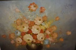 """T.Kelly """"Still Life of Flowers"""" Oil on Canvas, 20th century, signed to lower right, 60cm x 90cm,"""