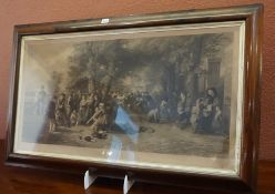 """""""Schoolboys Playing Sports"""" Victorian Print, 45.5cm x 92cm, in a rosewood framed"""