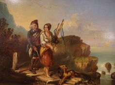"""Scottish School """"Highland Male and Female with Dog"""" Oil on Copper Panel, circa 19th century, The"""