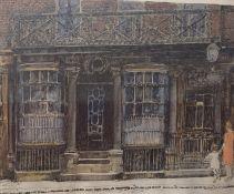 "Flora H Mitchell (Irish 1890-1973) ""Shop in Artillery Lane, London 1720"" Pen Ink and Watercolour,"