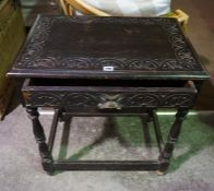 A Jacobean Revival Oak Side Table, Having a single drawer, raised on turned supports with