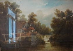 """After Sidney Melville """"River and Cottage Scenes"""" Oil on Canvas, signed Melville to lower right, 41."""