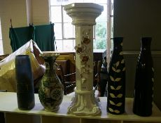 Four Modern Ceramic Vases, To include a Japanese style example, 45cm, 47cm, 60cm high, also with a