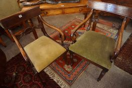 Two Victorian Mahogany Carver Armchairs, Raised on turned reeded legs and sabre legs, 82cm, 85cm