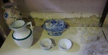 A Mixed Lot of Pottery and Crystal, To include a willow pattern tureen, crystal liqueur glasses etc,