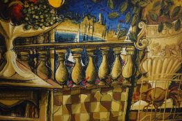 """Edward Norman (British) """"Continental Abstract Scene"""" Oil on Panel, signed Edward 86 to lower"""