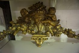 A Continental Gilded Plaster Pediment / Wall Hanging, circa 19th century, Decorated with cupids,