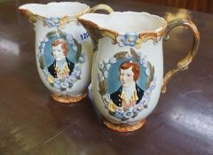 A Pair of Robert Burns Ceramic Jugs, Probably by Beswick, no 1045-2 stamped to underside of one jug,