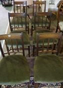 A Set of Six Mahogany Bar Back Dining Chairs, circa late 19th century, Having a later green