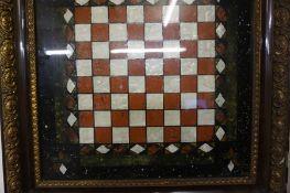 A Pietra Dura Style Specimen Chess Board, circa late 19th / early 20th century, 34cm x 35cm, beneath