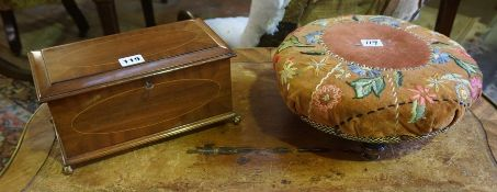A Mahogany Inlaid Box, Having a later velvet lined interior, raised on gilt metal ball and claw