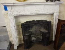 An Adams Style Painted Fire Surround, circa late 18th / early 19th century, Decorated with panels of